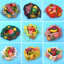 Reusable Shoping Mesh Bag Knitted Cotton Tote Fruit Grocery Shopper Net Handbag(China)