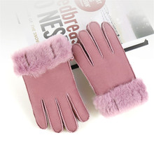 Factory Outlets Children Leather Gloves Five Fingers Winter Thicken Warm Kids Sheepskin Gloves For Boys Girls E100(China)