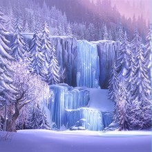 8x8FT Custom Backgrounds Iced Icefall Waterfall Falls Pink Anna Queen Elsa Photography Studio Backdrops Vinyl 2.4x2.4m(China)