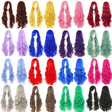 Hot Sale Long Wavy Anime Cosplay Wigs Oblique Bangs Scroll Pink Black Blue Brown Grey 34 Multipl Colors Synthetic Hair Wigs 80cm