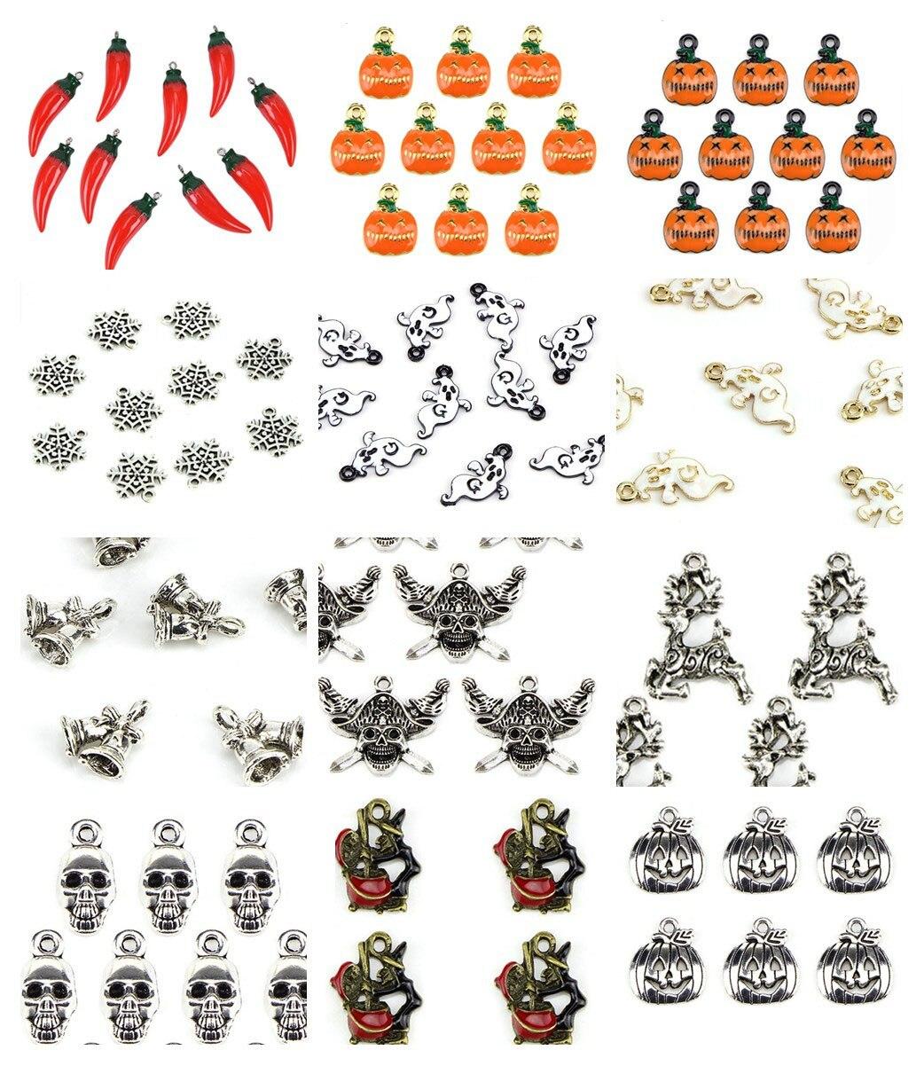 12 pcs Multi-style Metal Pumpkin Ghost Skull Pendant Charm Halloween Jewellery