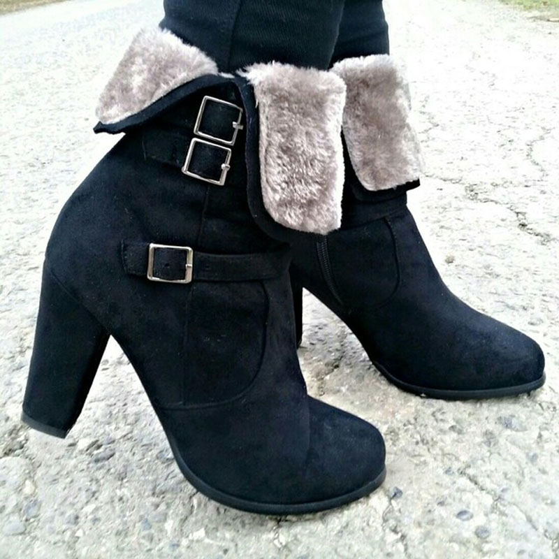 0a6a07b3b31 Meotina Winter Ankle Boots for Women Fur Buckle High Heels Boots Zip Luxury  Block Heel Female Shoes Gray Black Big Size 34-43