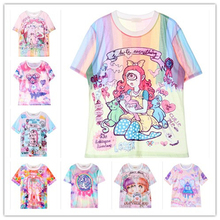 2015 SWAG Harajuku style tie dye t shirt tombstone/my little pony/unicorn/rainbow/bear kawaii cute printed women t-shirt  tops
