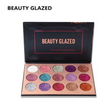 BEAUTY GLAZED Colorful Eyeshadow Palette Long-lasting Eye Shadow Easy to Wear EyeshadowsShimmer Natural Makeup palette 15 Colors
