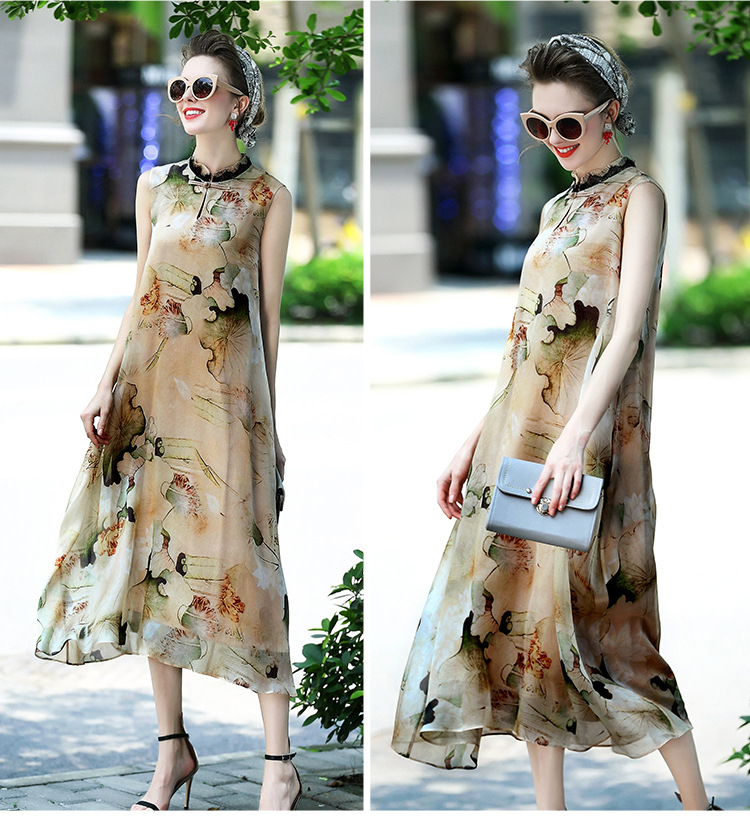 100% silk dress women's clothing 2017 spring and summer dress lady chinese style sleeveless print dress female
