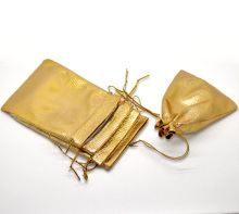 "Doreen Box  golden tone Satin Gift Bags With Drawstring 12x9cm(4-3/4""x3-1/2""), 100PCs (B16806)"