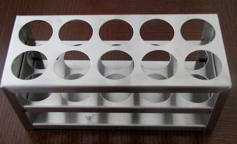 Stainless Steel Test Tube Rack, 10 Holes, 30 Mm (1 1/8), 50 Ml<br>