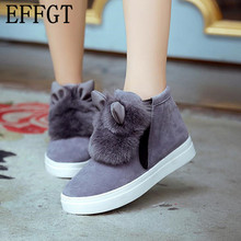EFFGT 2017 new spring autumn Woman Platform Ear women winter shoes Boots plush Student Shoes Female Warm snow boots H110(China)