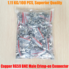 100PCS Top Quality 3-Piece Set 100% Copper RG59 BNC Male Crimp-on Connector RF Coax Cable Crimp Connector Plug for Coaxial CCTV(China)