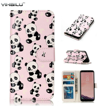 Classical Flip Leather Case For Samsung Galaxy S8 Plus Phone Cases Wallet 3D Panda Pattern Silicone Cover For Samsung S8 Coque