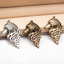 Cheap New Fashion Wild Brooches Retro Jewelry Suit Collar Buckle Domineering Wolf Head Chest Needle Collar Men Gift Wholesale