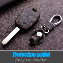 cowhide leather car key cover case for HONDA for Accord CR-V Civic Fit Freed StepWGN keyring keychain holder 3 buttons