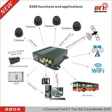24 hour video dvr kits with 3g network,google map gps tracking & WiFi,S204+3G+WiFi+GPS+4*M6501+2*5m+2*15m AVI cables