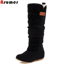 new 2018 fashion female woman knee high boots flat heel nubuck leather motorcycle women boots autumn boots autumn winter shoes