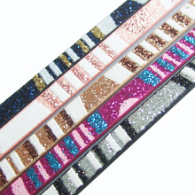 18 Kinds 5mm Flat PU Imitate Rivet Dots Braided Leather Cord Bling Shinning Powder DIY Jewelry Craft 1.1meter 5*2mm