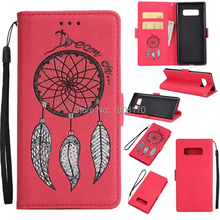 Dreamcatcher Wallet Leather Pouch Case For Samsung Galaxy NOTE8 NOTE 8 Strap Money Pocket Stand Cell Phone Skin Cover 1pcs