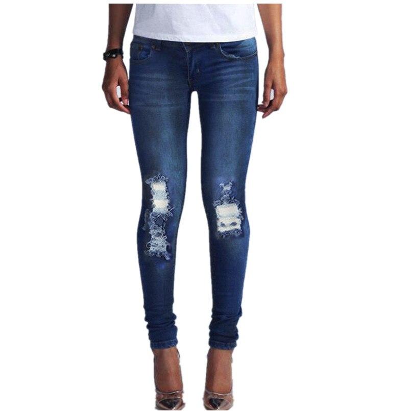 New Brand Fashion Women Denim Ripped Denim Stretch Pencil Jeans Casual Lady Slim Skinny Pants Female High Waist Trousers Jan5Одежда и ак�е��уары<br><br><br>Aliexpress