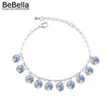 BeBella octagon charms stone bracelet made with Austrian crystals from Swarovski for Christmas gift