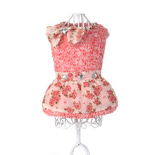 2017 Summer Dress Dimond Decoration Dog Dresses Rose Flower Princess Dress for Dogs Skirt With Bow Puppy Clothes Supplies(China)