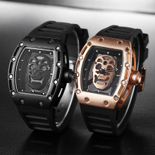 2017 Top brand Street fashion Big dial Skull watch Quartz movement  Street sports Men's watch Big dial Trendy waterproof watch
