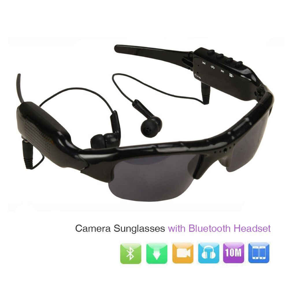 Mrs win HD 1080P Camera Mini DV Camcorder Sunglasses Video Recorder w/ Bluetooth Headphones Stero Music Player Mini Camera Glass<br>