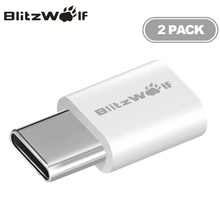 BlitzWolf BW-A2 2pcs/lot Micro USB to USB Type-C USB C Adapter Male to Female Convert Connector For Xiaomi For Huawei Phones(China)