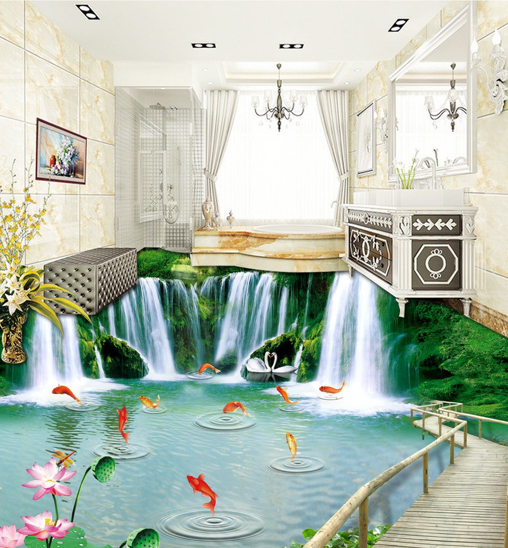 Free Shipping Nature Woodbridge Waterfall 3D Floor wear non-slip moisture proof bathroom kitchen flooring wallpaper mural<br>