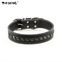 T-MENG Top Quality Pu Leather Dog Collar For Small Medium Dogs Adjustable Size Delicate Rivet Spiked Pet Product Belt Accessoire(China)