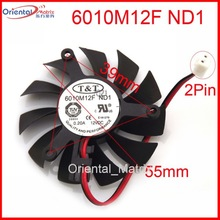 Free Shipping New 6010M12F ND1 12V 0.20A 55mm 39*39*39mm Graphics / Video Card VGA Cooler Fan 2Wire 2Pin