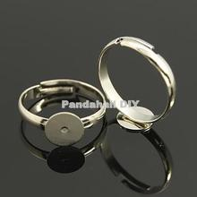 100pcs Silver color Adjustable Brass Pad Ring Base Findings,Lead Free, Cadmium Free, 19mm; 17mm Inner Diameter