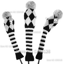Brand New 3Pcs One Set Grey Color Wool Knit Pom Pom Covers Golf Clubs Set headcovers Covers inclue Driver 3# 5# Fairway wood(China)