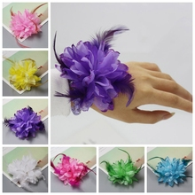 50pcs 8 Colors Flower Feather Bead Corsage Hair Clips Fascinator Bridal Hairband Party(China)