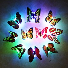 8pcs/lot Butterfly Light Wall Stickers with retail box multi color night light Home living kid room Fridage bedroom fast ship SR