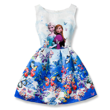 Summer Girls Dress Anna Elsa Dress Party Vestidos Teenagers Butterfly Print Princess Dress for Girls Elza Baby Girl Clothes(China)