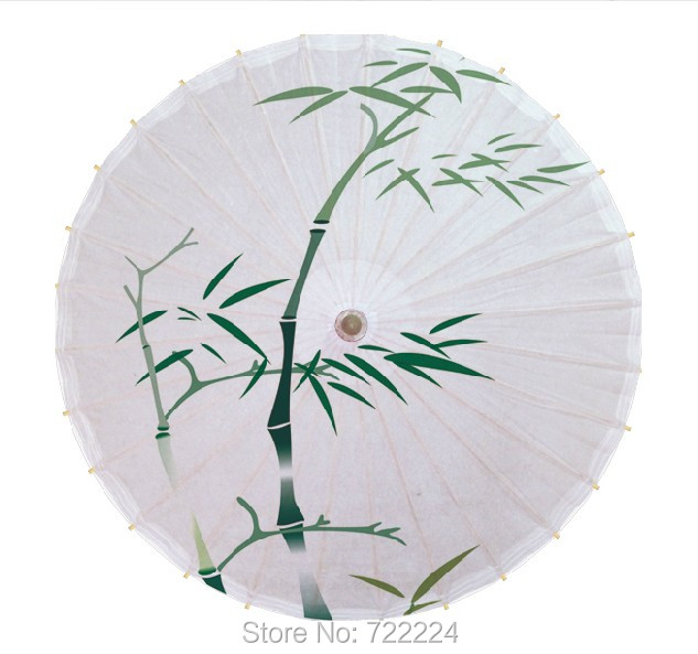Dia 84cm Chinease handmade Classical craft umbrella fresh green bamboo picture vintage long-handle parasol oiled paper umbrella<br>