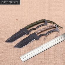 MARS MADAM free shipping Sharp serrated knife blade Stainless steel outdoor camping knife Hunting knife and woodworking tools(China)