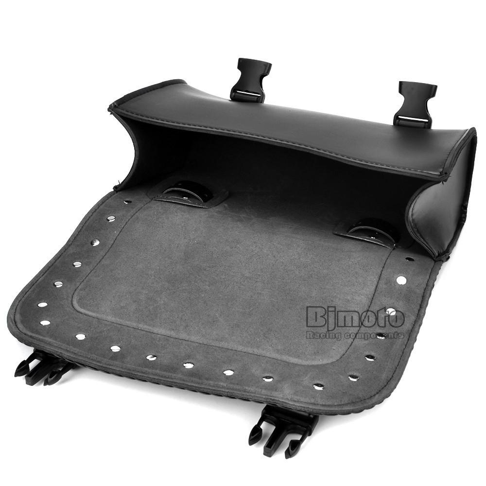 Black Motorcycle Saddlebag Bag PU Leather Luggage Saddle Bags For Harley Sportster Pannier Side Saddle Bag (4)
