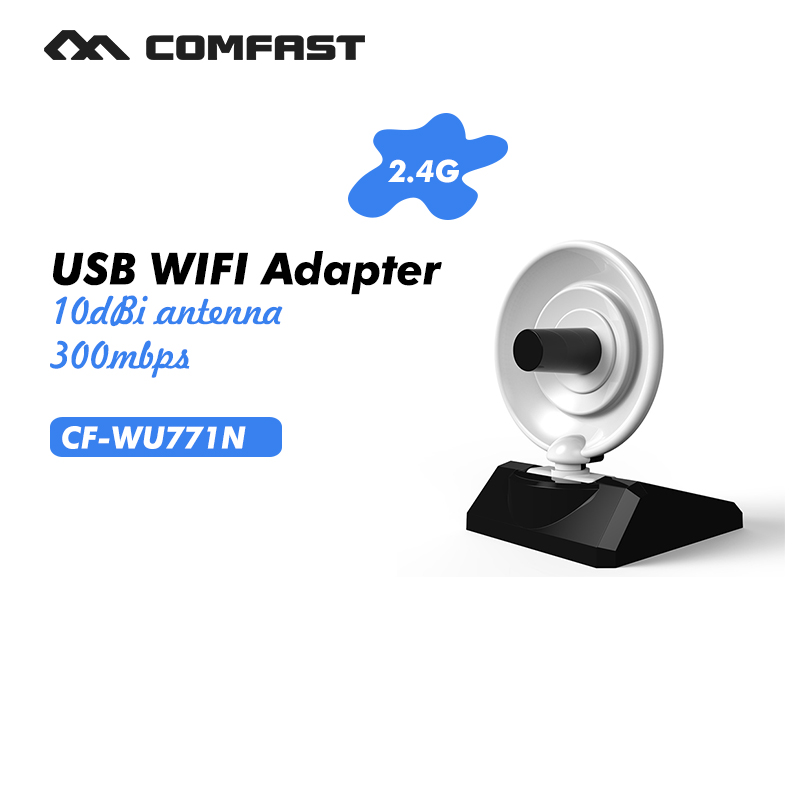 USB WiFi Adapter wireless dongle computer network card 300Mbps high power radar long range extender 2.4G Comfast CF-WU771N(China)