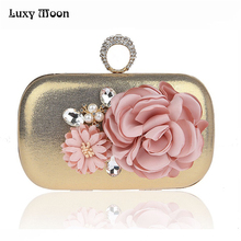 Evening Bags Women Handbags Finger Ring Flowers Evening Clutches 2017 New Crystal Wedding Female Floral Clutches Purse ZD618