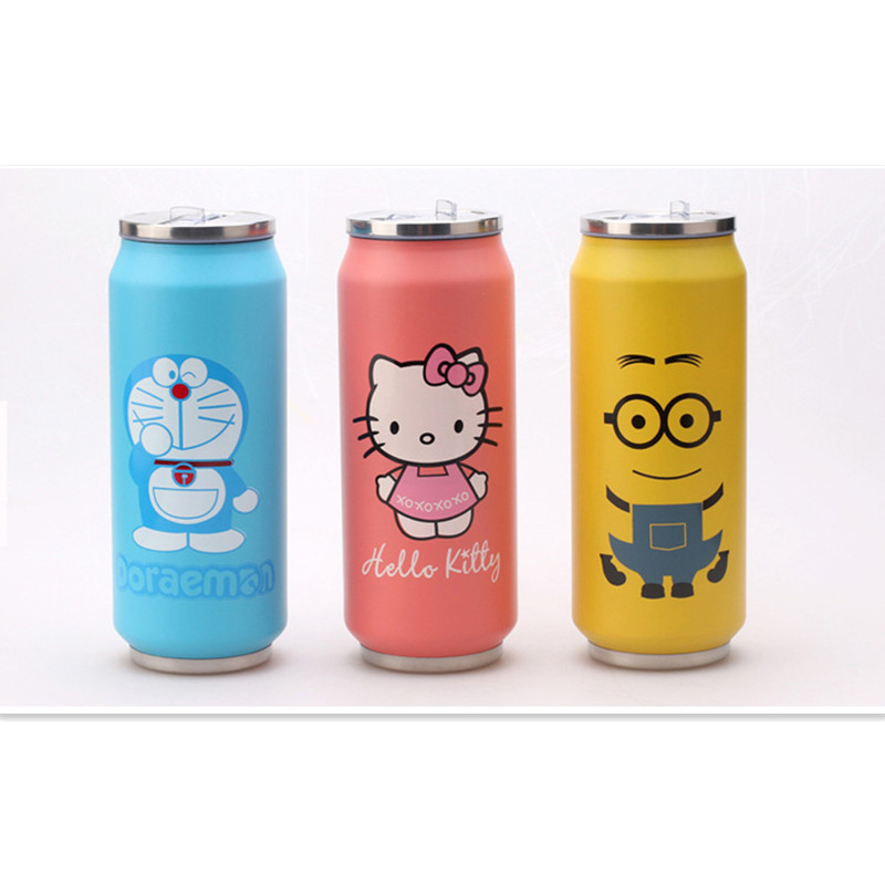 Promotion! Stainless Steel Anime Hello Kitty 1314 kt Coke Jingle Mugs Children Cans With Straw Insulation Coke Vacuum Flasks(China)