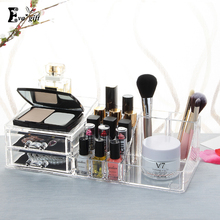 Crystal Cosmetic Organizer BOX with drawer Clear Makeup Jewelry Cosmetic Storage Display Box Acrylic Case Stand Rack Holder(China)