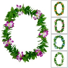New  Free shipping KL36187 100 PCS /lot  10 colos Mixed  110CM Felt  plumeria w green leaves Headband lei Hawaii party Beach
