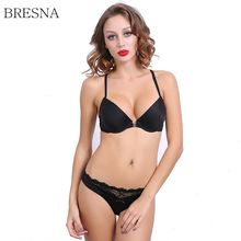 BRESNA Backless Bra With Lace Front Closure Bra Set Push Up Y-line Straps Ladies Lingerie Underwear Sexy Brassiere White Black