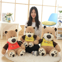 New Coming 1 Pc 60Cm 2 Colors Light brown Teddy bear lovely Cute Dressed Sunny bear plush toy Kids birthday Christmas gift