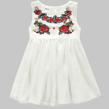 Retail new white bud silk gauze of tall waist round collar sleeveless vest dress,hot girls dress children's clothing white free