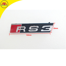 Free shipping chrome + red RS3 grills style badge RS3 grills design logo RS3 grille emblem for Audi A3 S3 facelift RS3 grill
