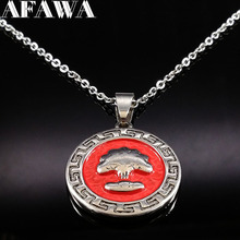 Red Tree of Life Stainless Steel Necklaces Pendants Women Jewelry Silver Color Statement Necklace Jewelry gros collier N176191