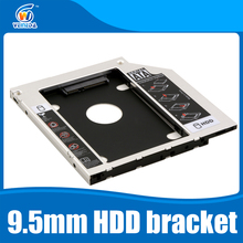 "Universal 2nd 9.5mm Aluminum HDD Caddy SATA 3.0 for 2.5"" SSD Case HDD Enclosure for Notebook CD-ROM hard drive bracket(China)"
