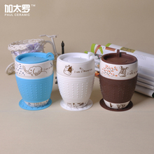 Paul Ceramic 500 ml Big Capacity Lovely Cartoon Design Ceramic Cup With Cover, Good Quality Cute Coffee Mug, M020D