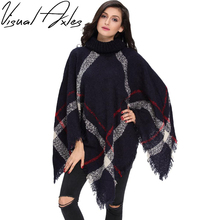 [Visual Axles] 2017 Plus Size Winter Warm Women's Wool Turtleneck Sleeveless Pullovers Plaid Knit Sweater Poncho (China (Mainland))